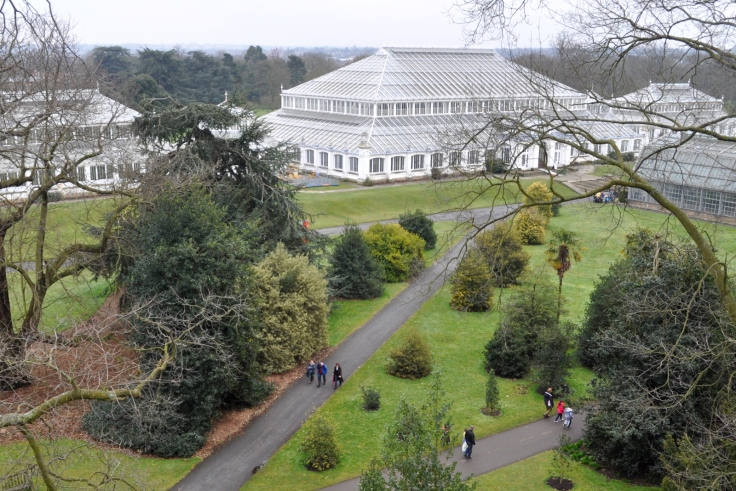 View of the Temperate House from the walkway.