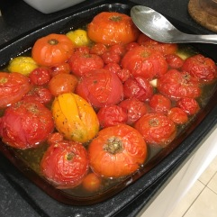 Roasted Tomatoes, oil & Garlic.